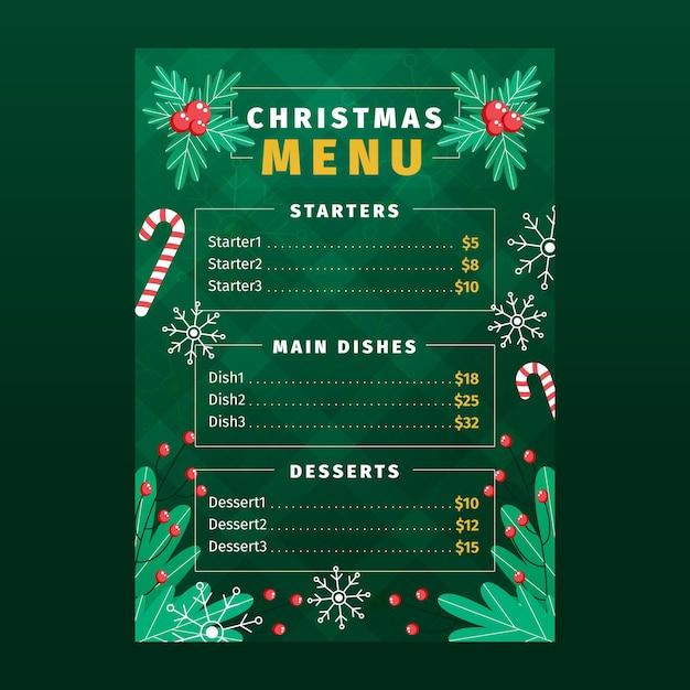 Modelo de menu de natal de design plano com coroa de flores Vetor grátis