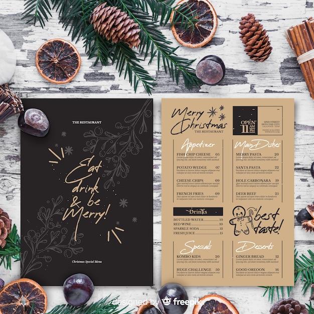 Modelo de menu de natal em estilo vintage Vetor grátis