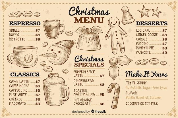 Modelo de menu de natal vintage Vetor grátis