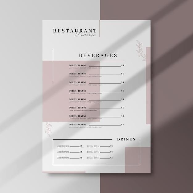 Modelo de menu de negócios de restaurante Vetor grátis