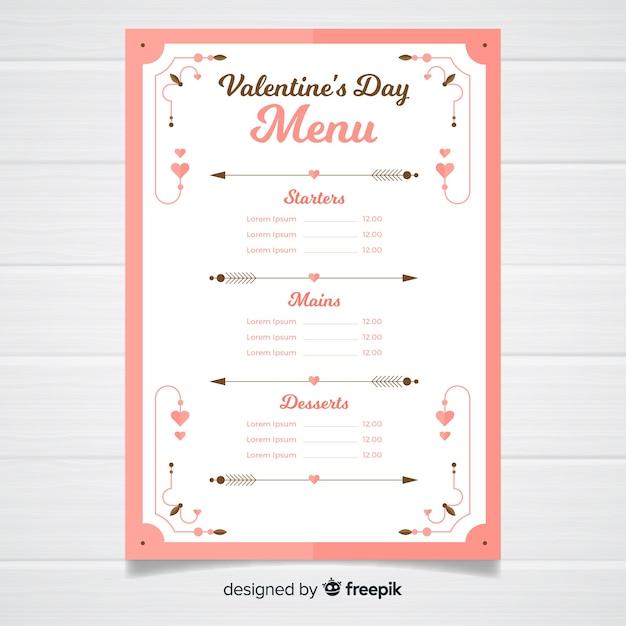 Modelo de menu de ornamentos simples dos namorados Vetor grátis