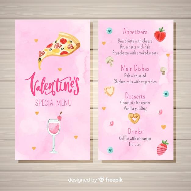Modelo de menu de pizza aquarela em dia dos namorados Vetor grátis