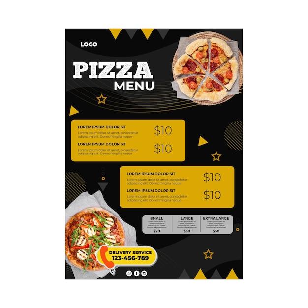 Modelo de menu de pizzaria Vetor grátis