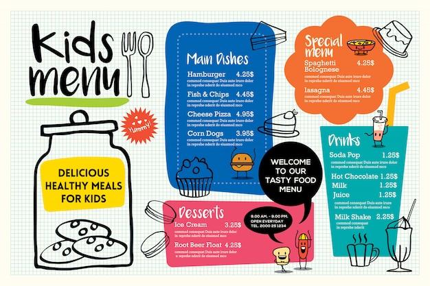 Modelo de menu de refeição de crianças colorido bonito Vetor Premium