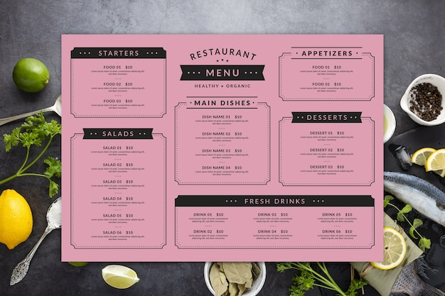 Modelo de menu de restaurante colorido com configuração plana Vetor grátis