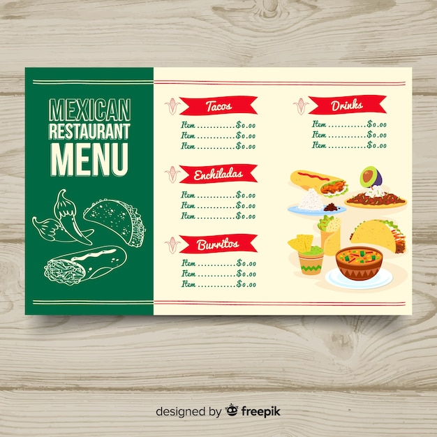 Modelo de menu de restaurante colorido mão desenhada Vetor grátis