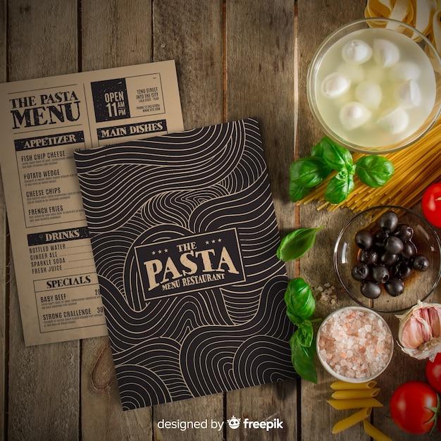 Modelo de menu de restaurante com foto Vetor grátis