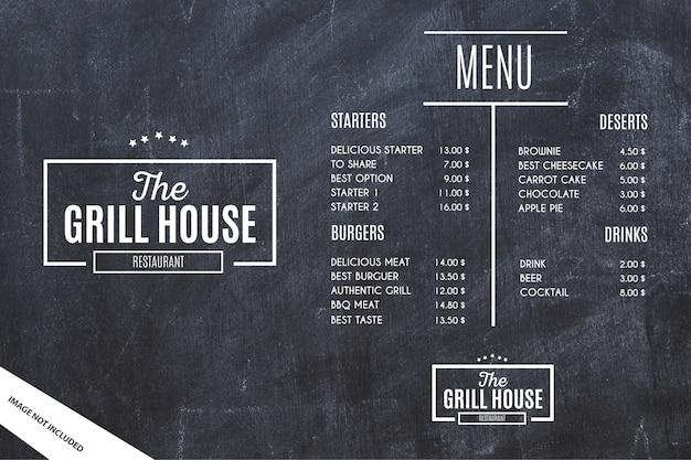 Modelo de menu de restaurante com fundo grunge Vetor grátis