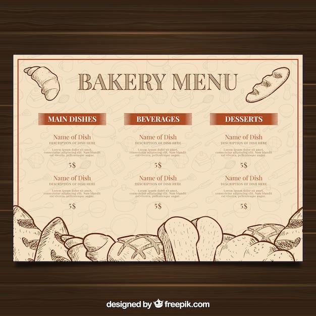 Modelo de menu de restaurante com lista de padaria Vetor grátis