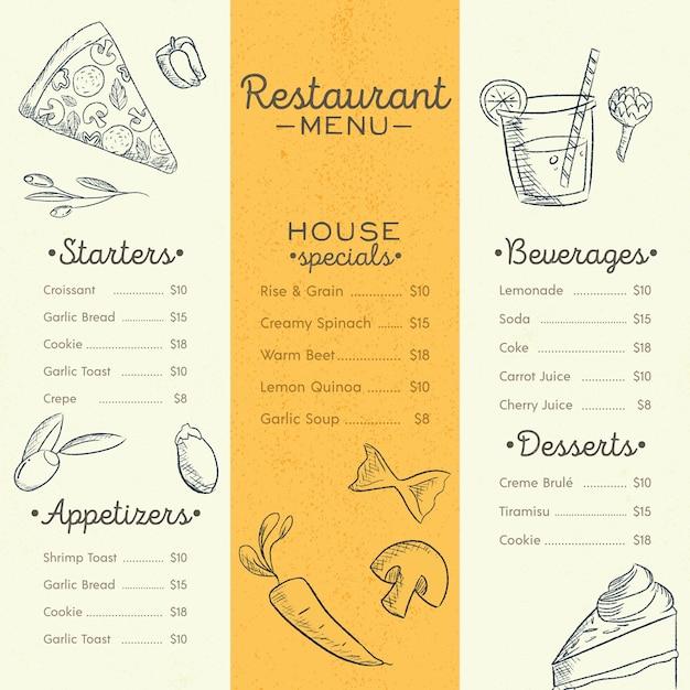 Modelo de menu de restaurante com pratos diferentes Vetor grátis