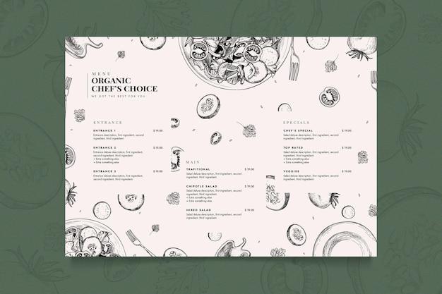 Modelo de menu de restaurante criativo Vetor grátis
