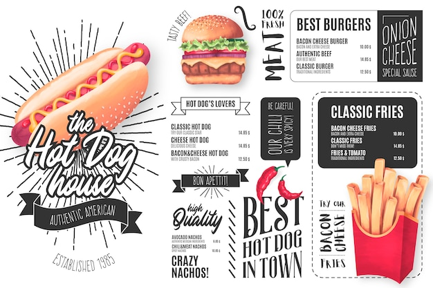 Modelo de menu de restaurante de cachorro-quente com ilustrações Vetor grátis