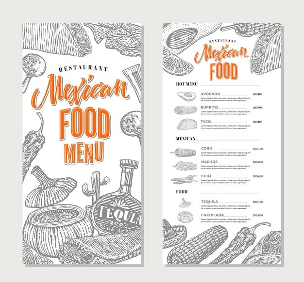 Modelo de menu de restaurante de comida mexicana Vetor grátis