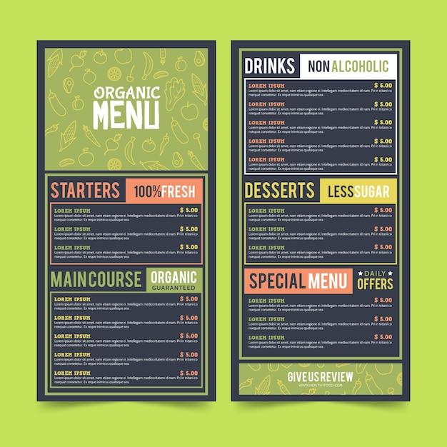 Modelo de menu de restaurante de comida saudável colorida Vetor grátis