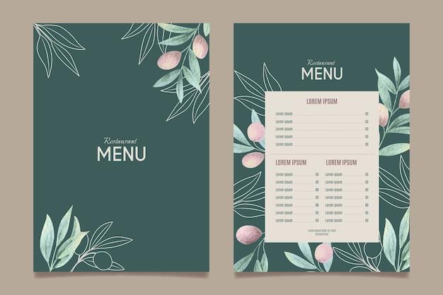 Modelo de menu de restaurante de comida saudável em aquarela Vetor grátis