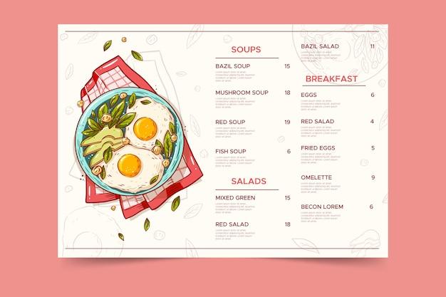 Modelo de menu de restaurante de comida saudável vintage Vetor grátis