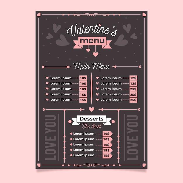 Modelo de menu de restaurante de dia dos namorados Vetor grátis