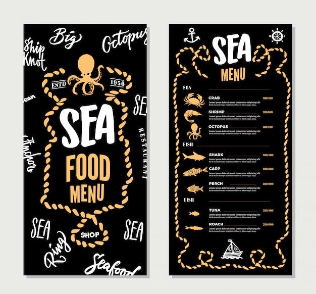 Modelo de menu de restaurante de frutos do mar desenhado à mão Vetor Premium