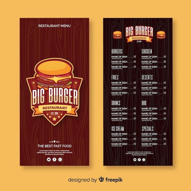 Modelo de menu de restaurante de hambúrguer plana Vetor grátis