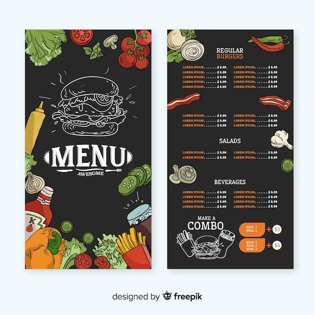 Modelo de menu de restaurante desenhado de mão Vetor grátis
