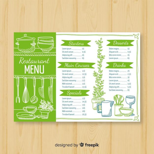 Modelo de menu de restaurante elegante desenhada de mão Vetor grátis
