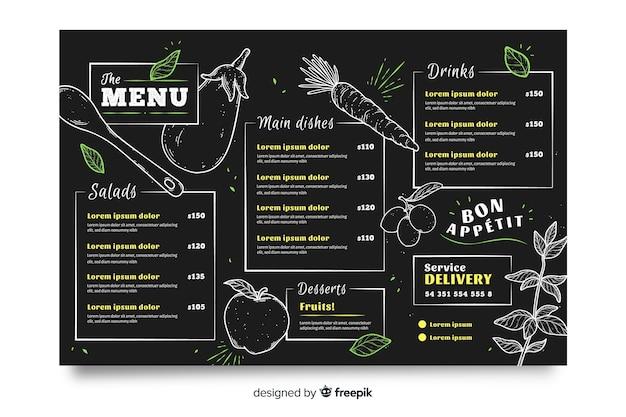 Modelo de menu de restaurante em design plano Vetor grátis