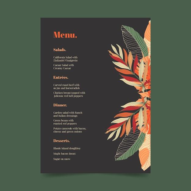 Modelo de menu de restaurante escuro com ornamentos florais Vetor grátis