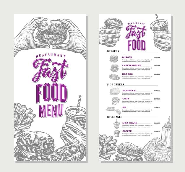 Modelo de menu de restaurante fast food vintage Vetor grátis