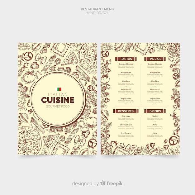 Modelo de menu de restaurante italiano de mão desenhada Vetor grátis