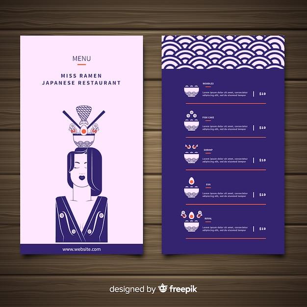 Modelo de menu de restaurante japonês ramen Vetor grátis