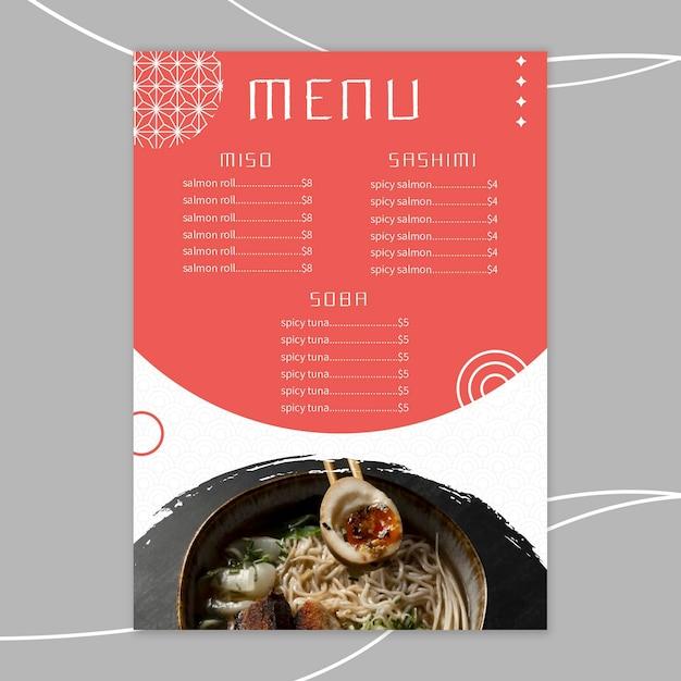 Modelo de menu de restaurante japonês Vetor grátis
