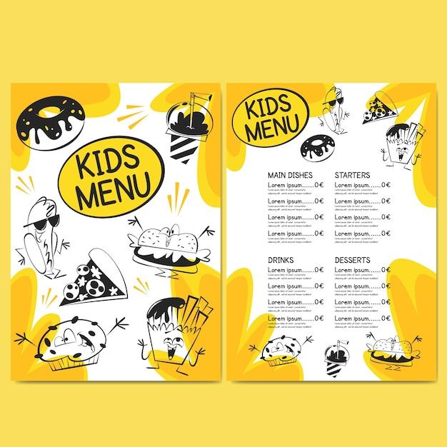 Modelo de menu de restaurante para crianças Vetor Premium
