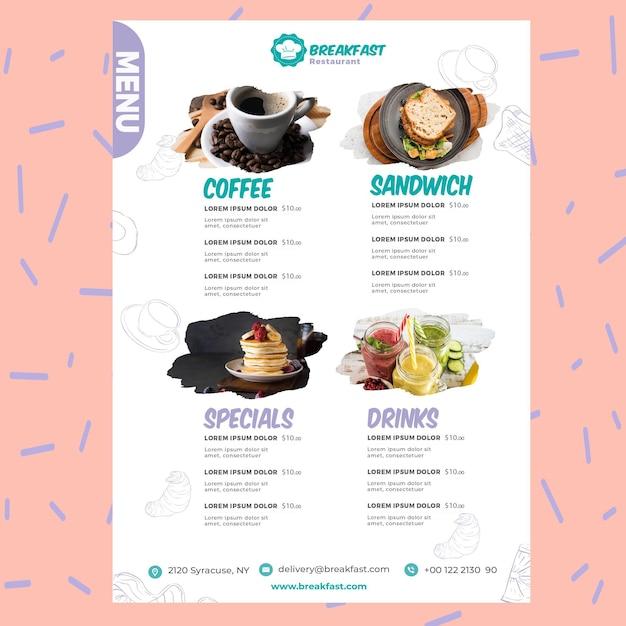 Modelo de menu de restaurante saboroso café da manhã Vetor Premium