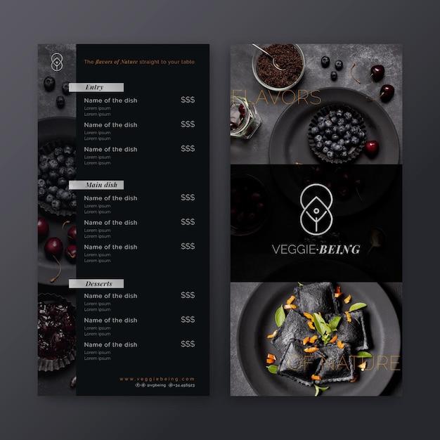 Modelo de menu de restaurante saudável Vetor Premium