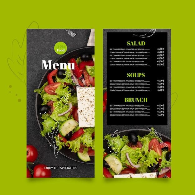 Modelo de menu de restaurante saudável Vetor grátis