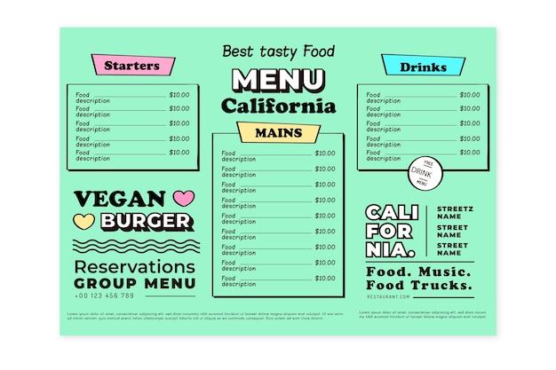 Modelo de menu de restaurante vegan Vetor grátis