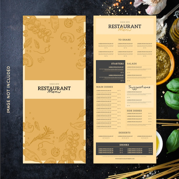 Modelo de menu de restaurante Vetor grátis