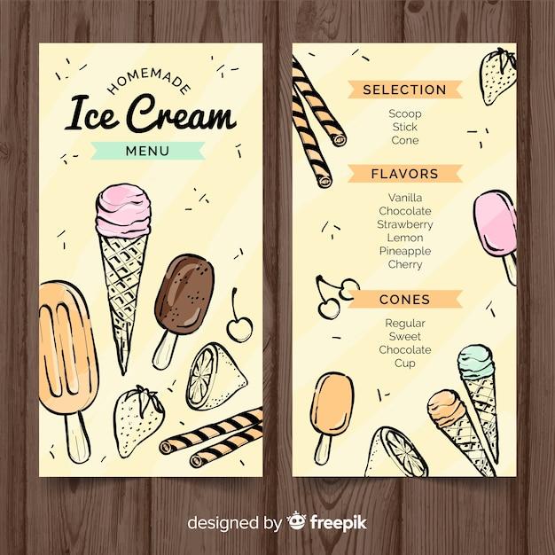 Modelo de menu de sorvete desenhado mão Vetor grátis