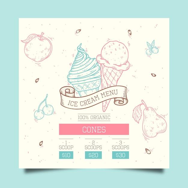 Modelo de menu de sorvete mão desenhada Vetor grátis