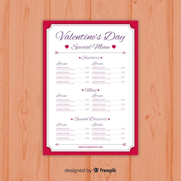 Modelo de menu do dia dos namorados Vetor grátis
