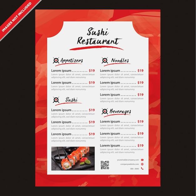 Modelo de menu do restaurante japonês moderno Vetor Premium