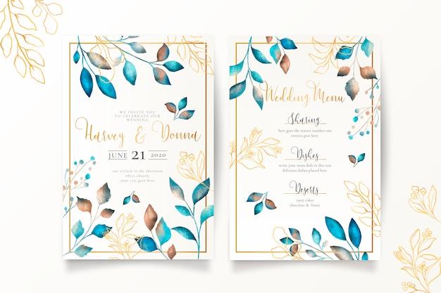 Modelo de menu e convite de casamento com folhas metálicas Vetor grátis