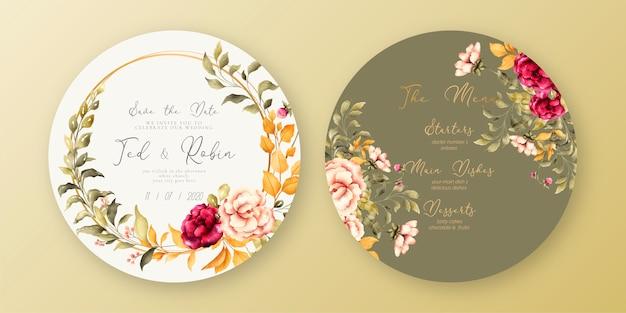 Modelo de menu e convite lindo casamento Vetor grátis