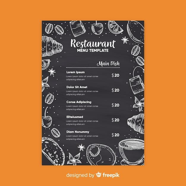 Modelo de menu elegante restaurante com estilo de lousa Vetor grátis