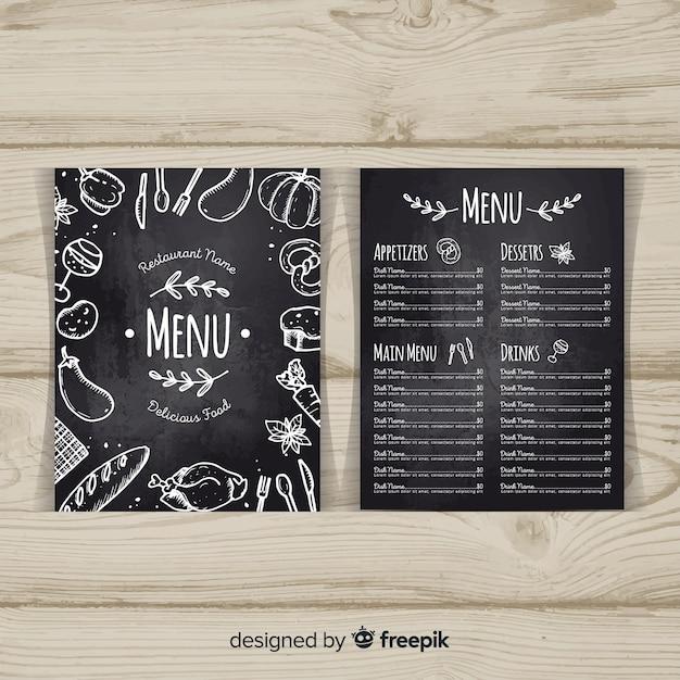 Modelo de menu elegante restaurante com estilo de quadro-negro Vetor grátis