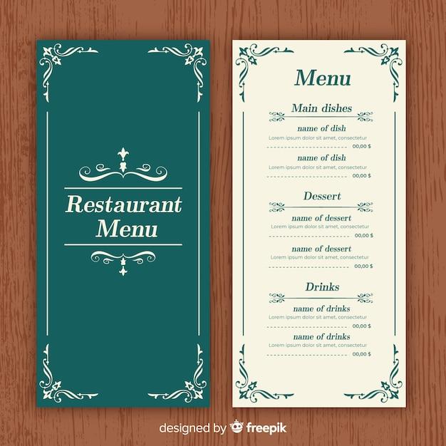 Modelo de menu elegante restaurante com ornamentos vintage Vetor grátis