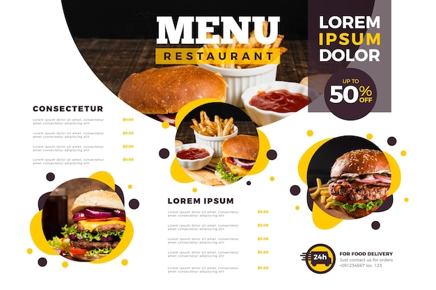 Modelo de menu em formato horizontal para plataforma digital com fotos Vetor grátis