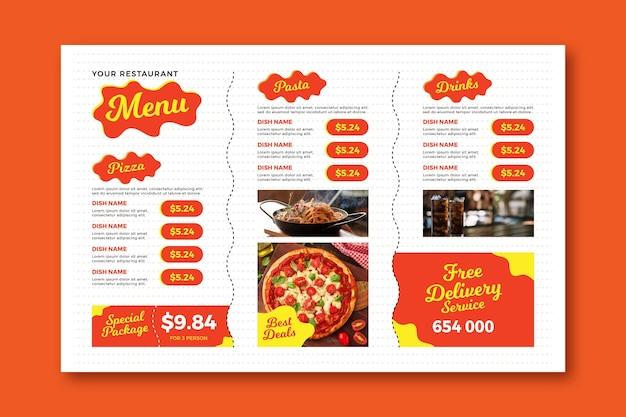 Modelo de menu horizontal digital de entrega gratuita Vetor grátis