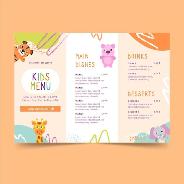Modelo de menu infantil de restaurante Vetor Premium