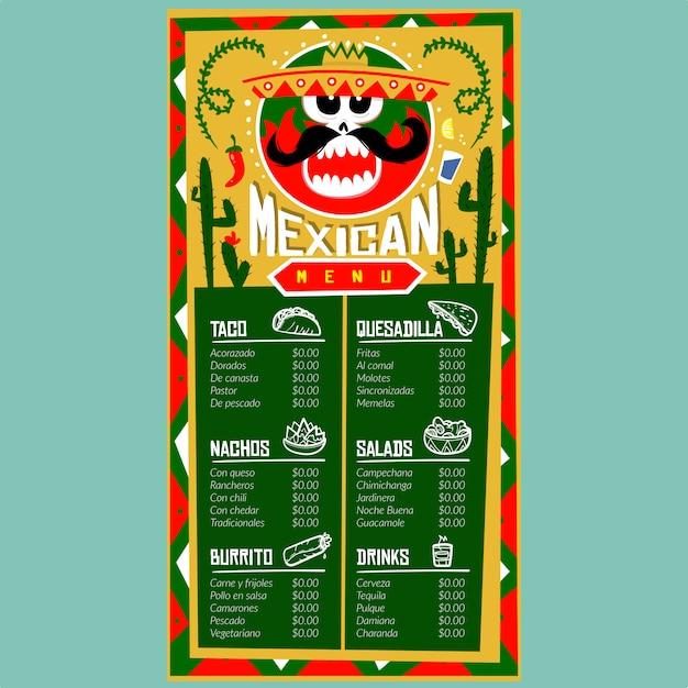 Modelo de menu mexicano para restaurante e café. modelo de design com ilustrações gráficas de comida desenhados à mão Vetor Premium